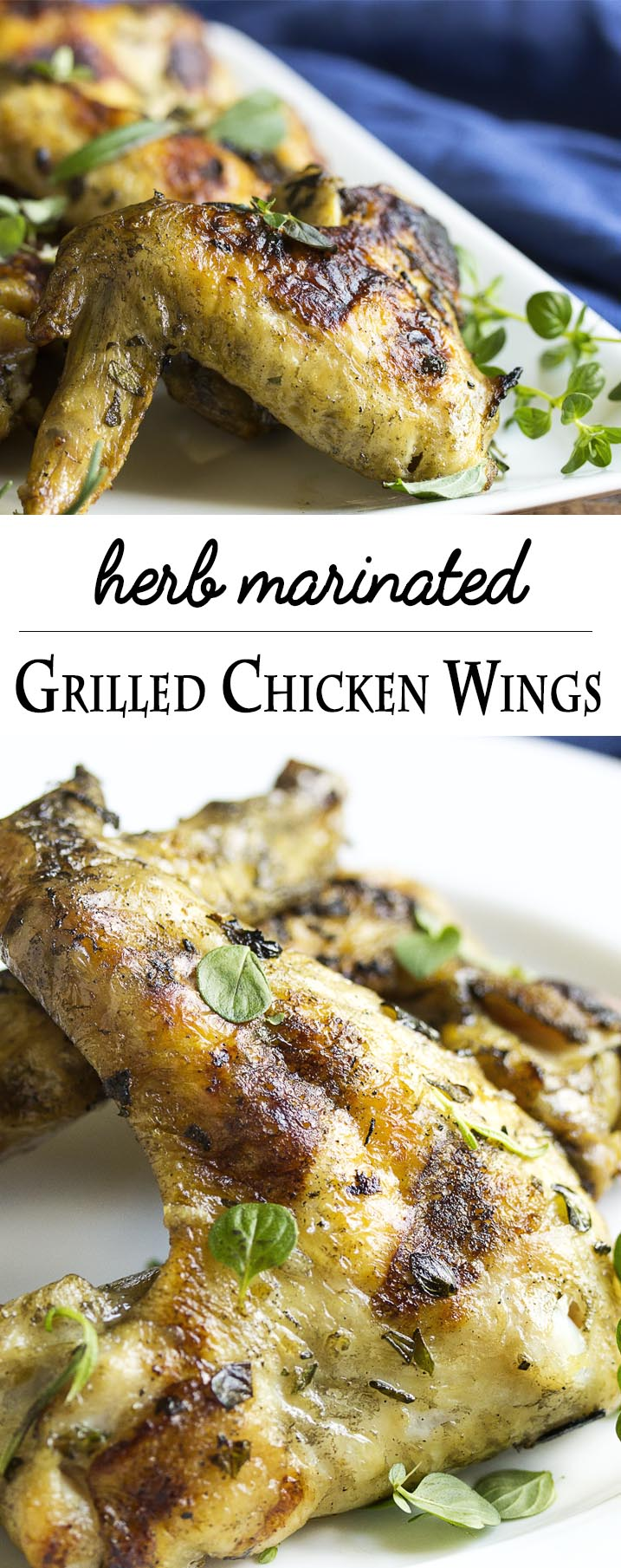 Herb Marinated Grilled Chicken Wings - Grilled chicken wings take on Italian flavors when they are marinated in fresh herbs and lemon and then grilled to crispy perfection. Great for cookouts! | justalittlebitofbacon.com