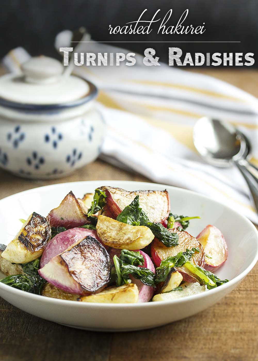 Roasted Turnips and Radishes - Sweet Hakurei turnips and young radishes are tossed with olive oil and roasted with their greens in this simple and satisfying side dish. | justalittlebitofbacon.com