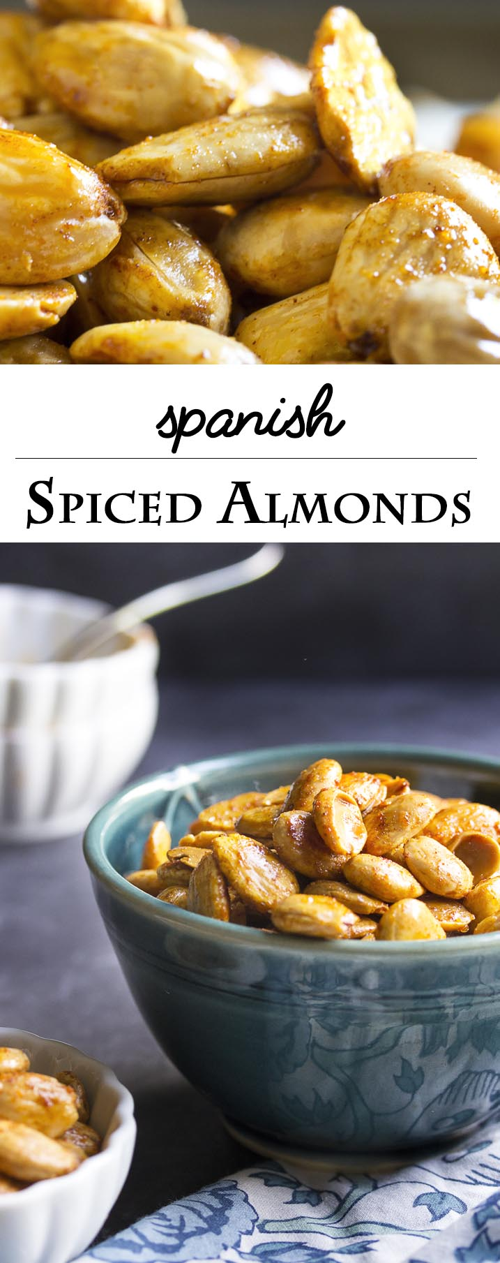 Spanish Spiced Almonds - Creamy, sweet marcona almonds are toasted and tossed in a flavorful paprika-spiked spice blend in this recipe for Spanish spiced almonds. | justalittlebitofbacon.com