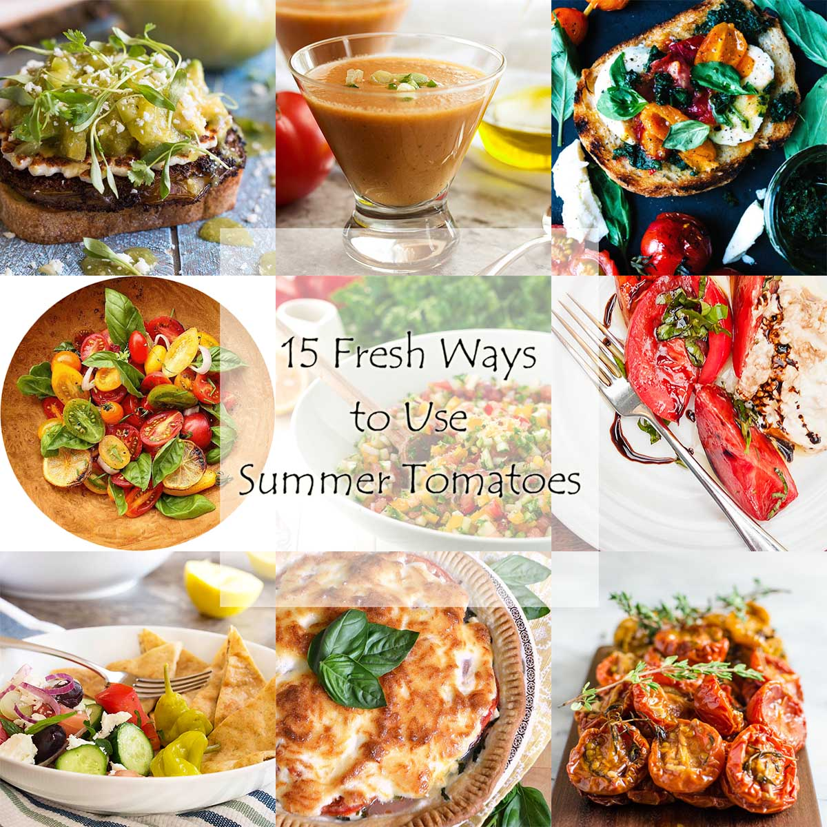 Summer Tomato Roundup - This roundup features 15 delicious summer recipes for tomatoes, including soup, sandwich, pasta, and salad recipes. | justalittlebitofbacon.com