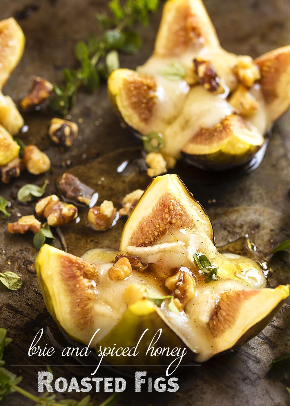 Roasted Fig Appetizer - Figs and brie are great match and so are figs and honey. Put them together and you'll have an appetizer which will disappear in a flash. | justalittlebitofbacon.com