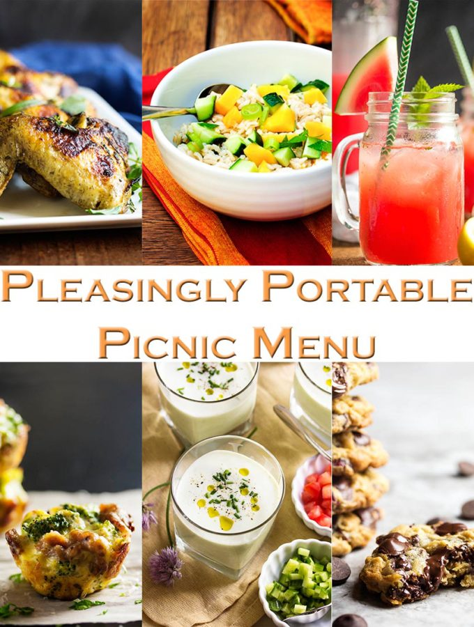 Pleasingly Portable Picnic Menu – No knives required! Here is a menu of easy to transport, make ahead recipes which will satisfy your al fresco dining needs without sacrificing flavor or freshness. | justalittlebitofbacon.com