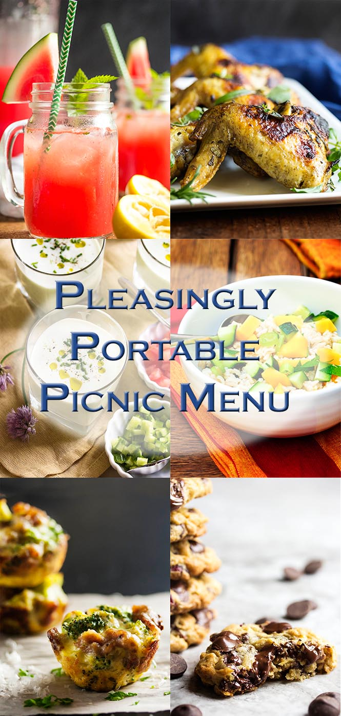 Pleasingly Portable Picnic Menu – No knives required! Here is a menu of easy to transport, make ahead recipes which will satisfy your al fresco dining needs without sacrificing flavor or freshness.   justalittlebitofbacon.com