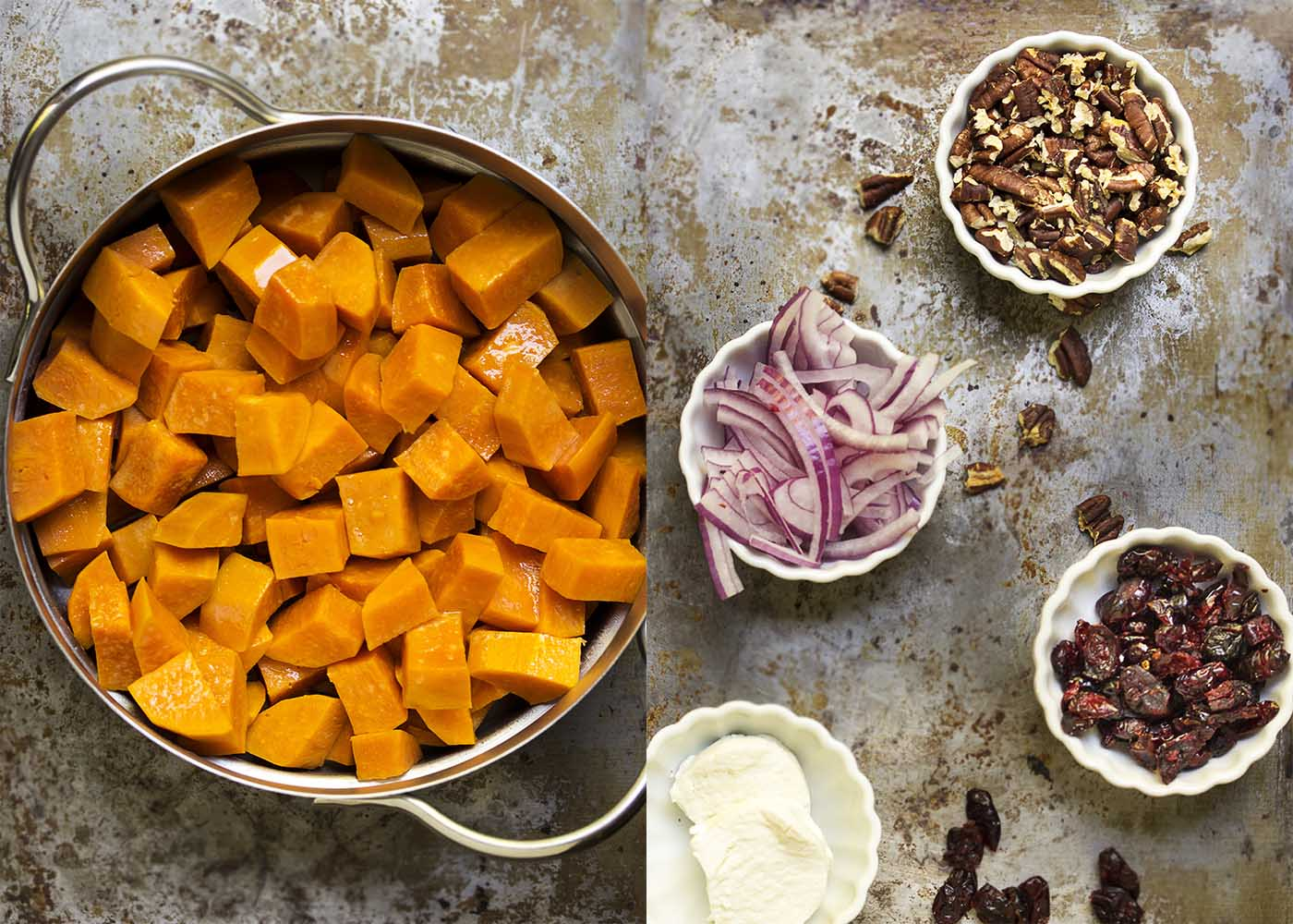 Step by step photos on how to make cold sweet potato salad.