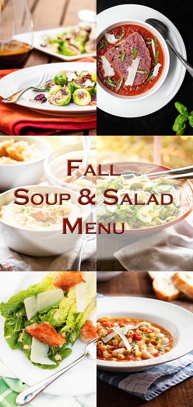 Fall is the time for cozy! This soup and salad menu has three great weeknight meals which will satisfy your need for comfort food. | justalittlebitofbacon.com