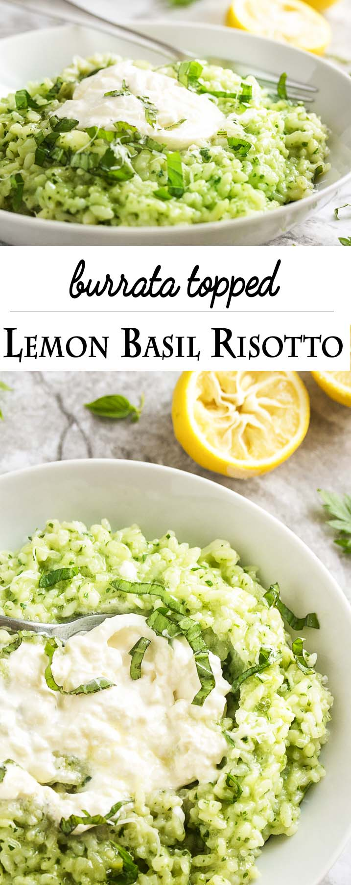Lemon basil risotto is topped with a luxurious swirl of creamy burrata in this flavorful Italian main course. Vegetarian and gluten-free! | justalittlebitofbacon.com