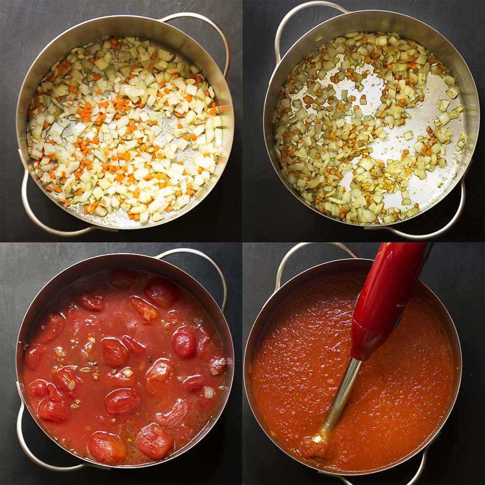 Step by step photos on how to make Italian marinara sauce.