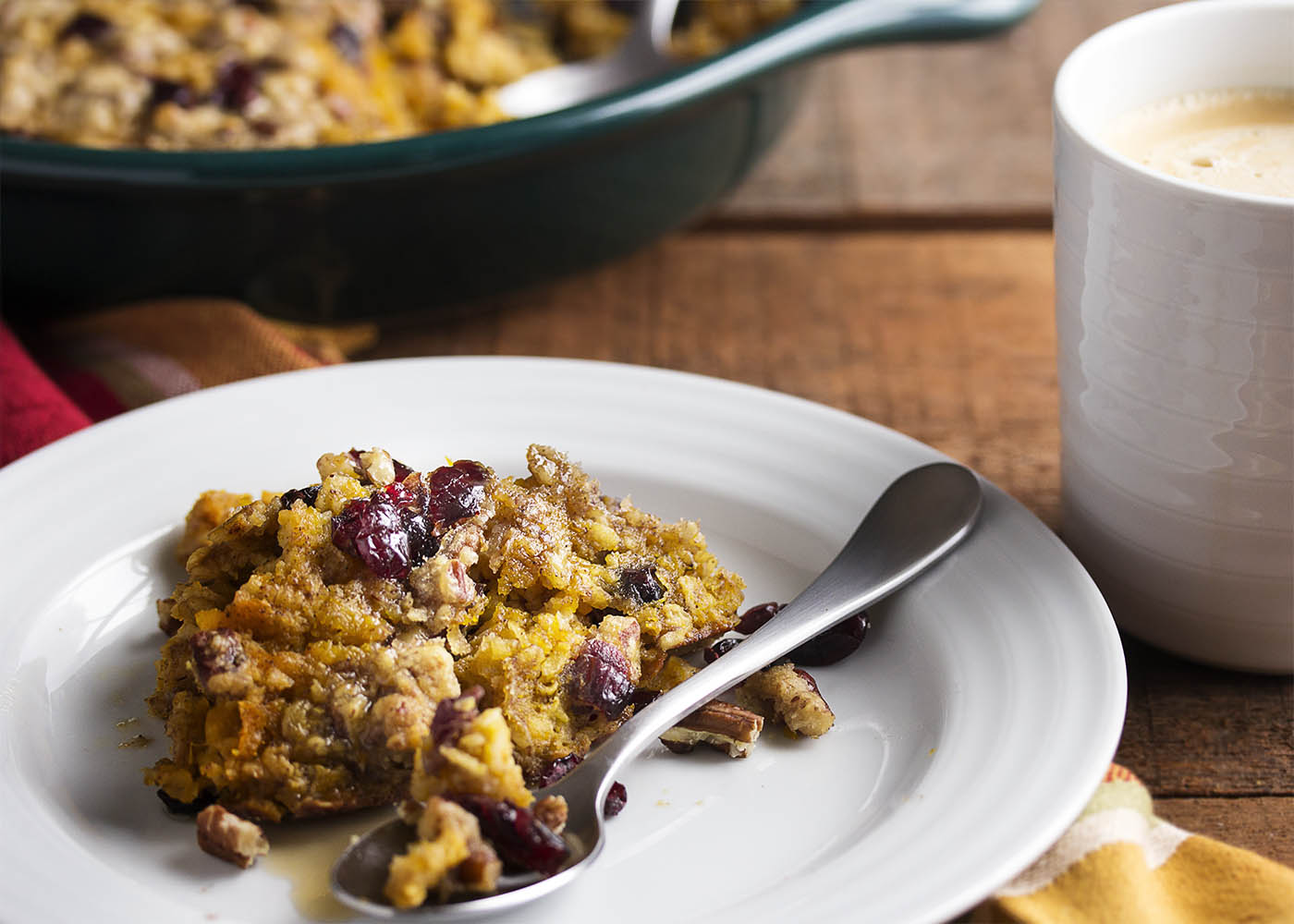 Pumpkin baked oatmeal is a healthy and filling breakfast for those days when you can't have enough pumpkin pie in your life. Great for a crowd!   justalittlebitofbacon.com