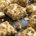 Apple Crisp Bars with Butterscotch Sauce