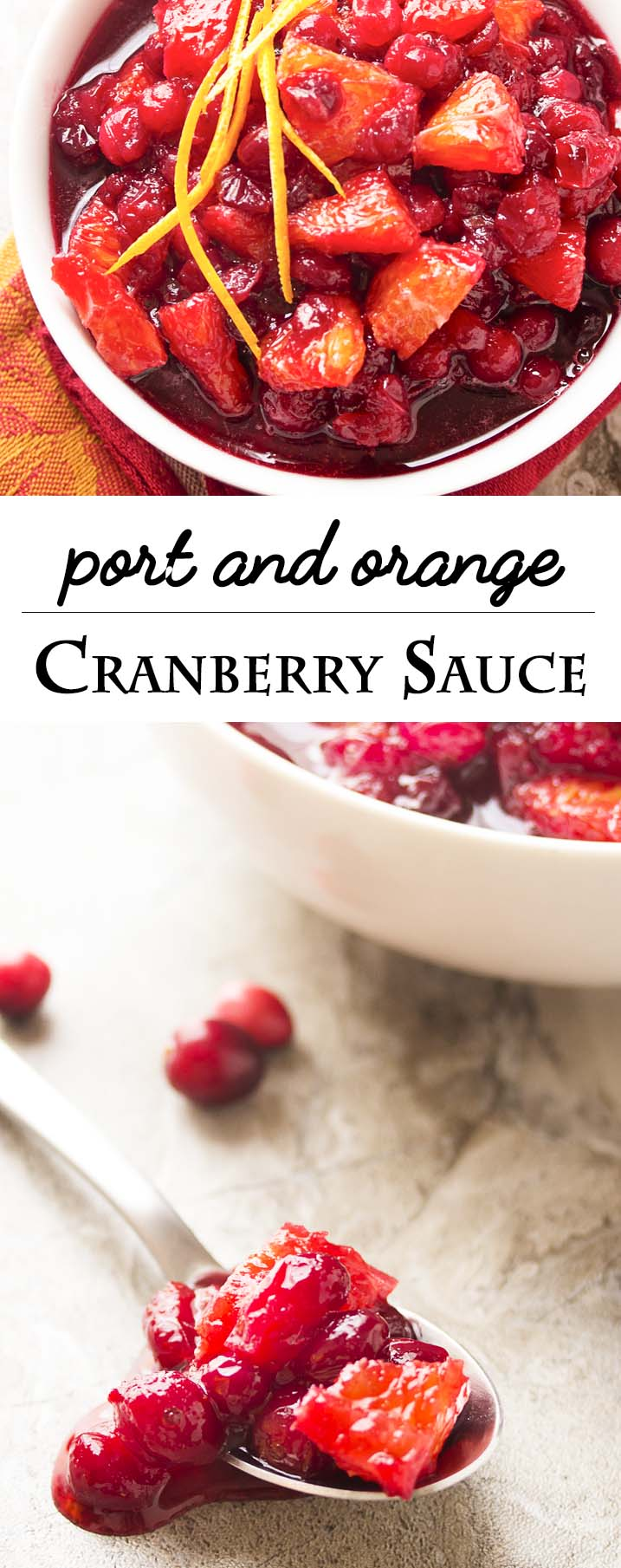 Check out this easy recipe for homemade cranberry sauce! Fresh cranberries are simmered in port wine and mixed with diced oranges to make a great Thanksgiving recipe for Cranberry Port Orange Sauce. | justalittlebitofbacon.com