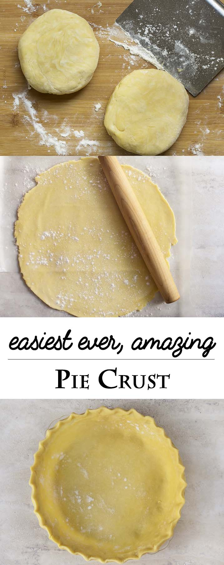 Throw out everything you know about making pie crust to make the best easy flaky pie crust you've ever made. Simple, all butter, no fail! | justalittlebitofbacon.com