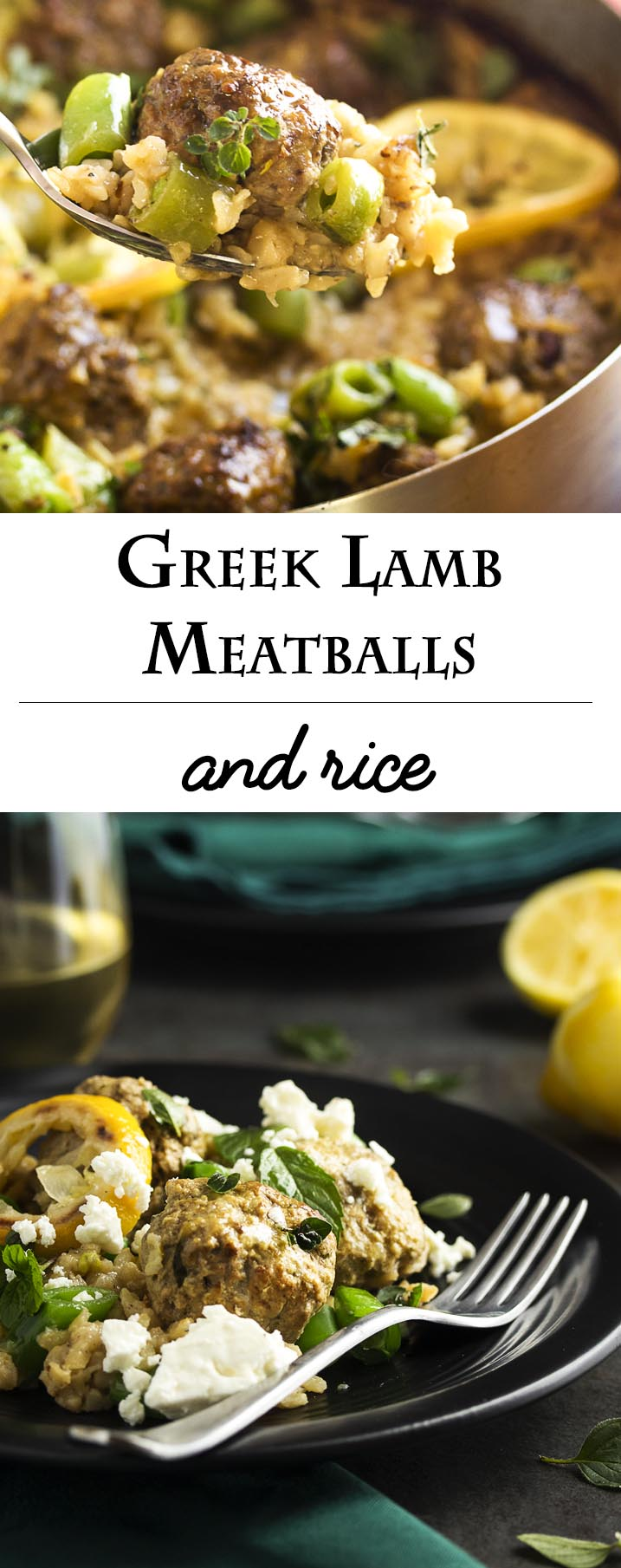 Great and easy one pot meal which starts on the stove and finishes in the oven! Greek lamb meatballs and brown rice is a healthy, complete meal full of the flavors of mint and thyme and finished with a crumble of feta. | justalittlebitofbacon.com