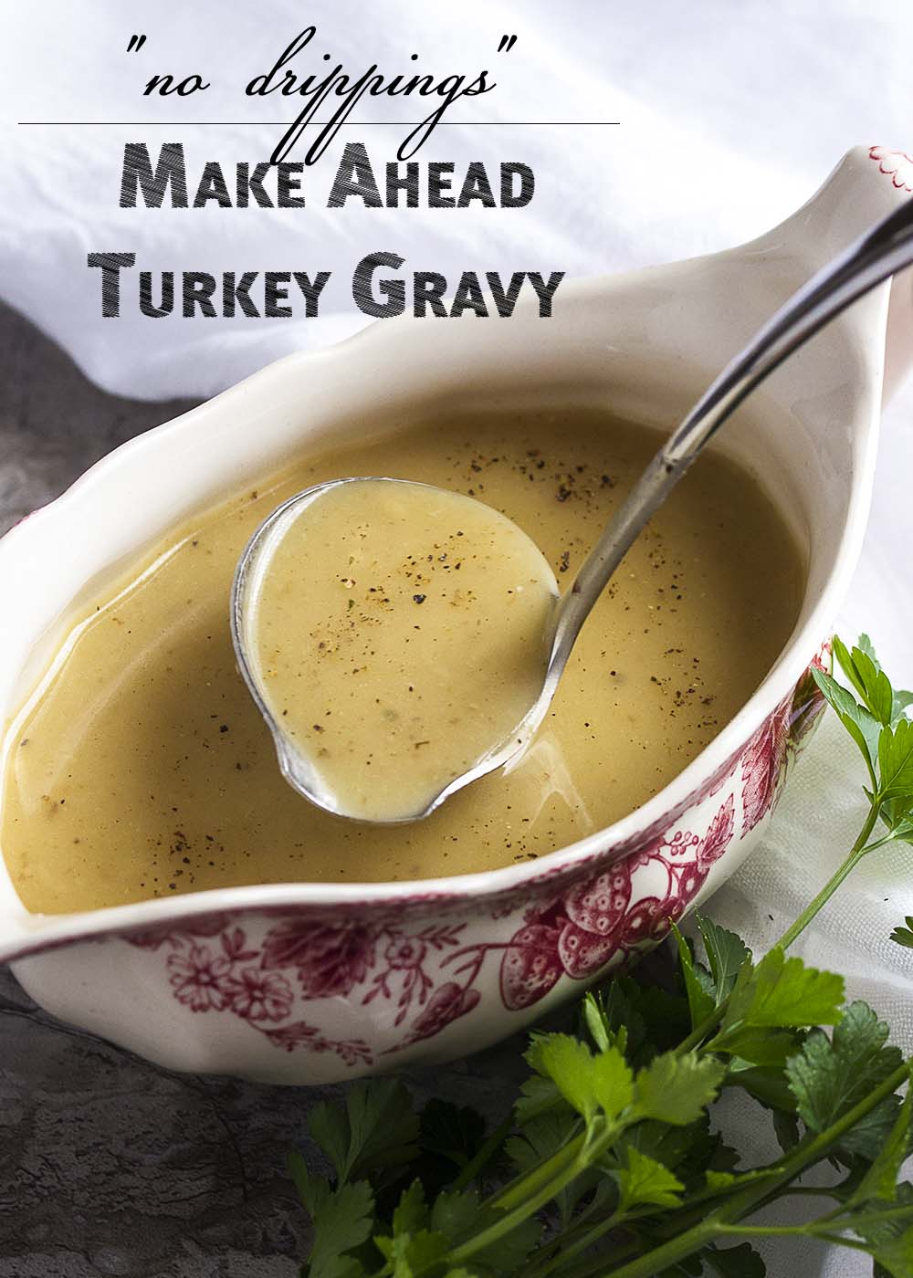 No drippings? No problem! Make this flavorful, rich gravy by layering flavors in your stockpot. Great for make ahead turkey gravy or gravy for grilled/fried turkeys.   justalittlebitofbacon.com