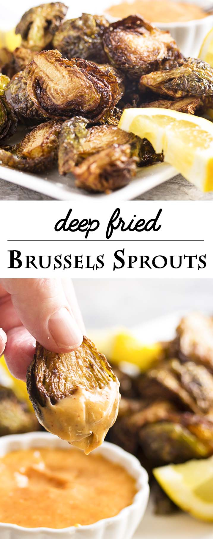 Deep fried Brussels sprouts served with a sweet and tangy sauce are a yummy snack, an addictive appetizer, and a fun Thanksgiving dish. Gluten free and simple to make! | justalittlebitofbacon.com