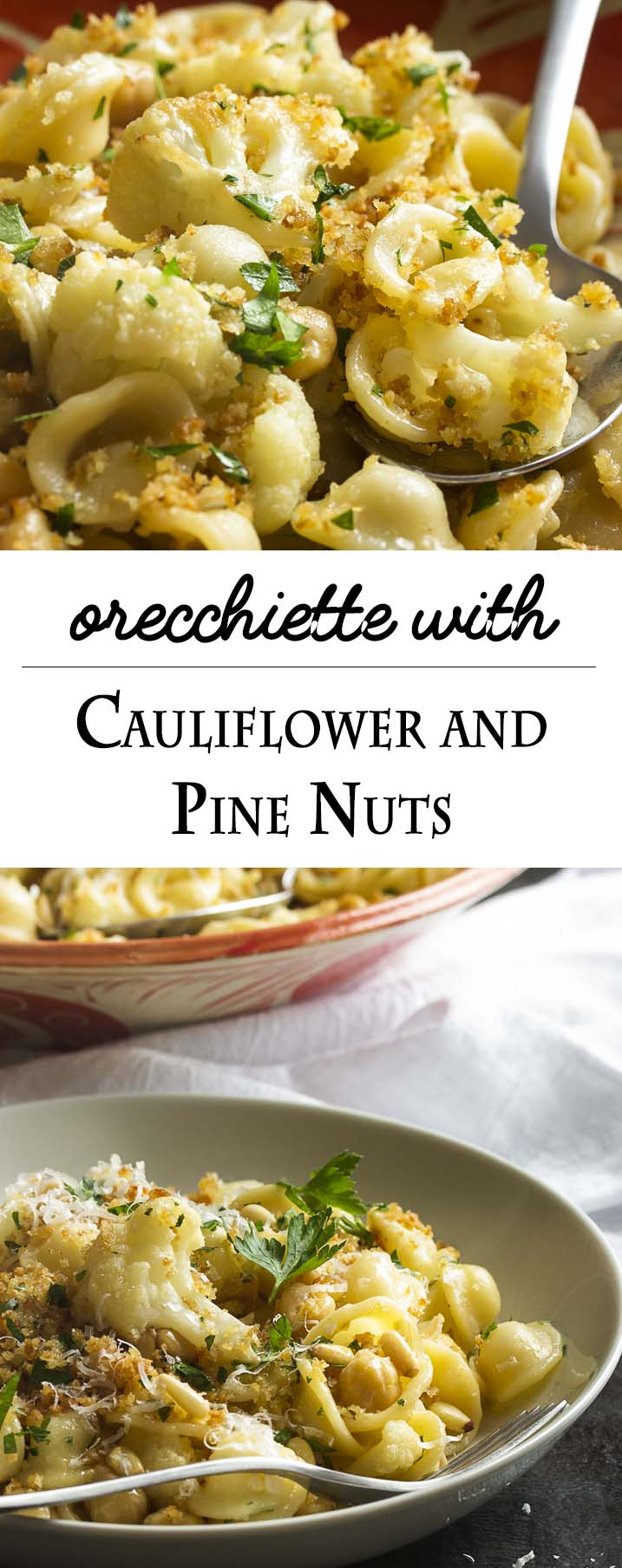 Orecchiette is tossed with sauteed cauliflower and toasted pine nuts, then topped with crispy bread crumbs, in this easy Italian vegetarian weeknight pasta dinner. | justalittlebitofbacon.com
