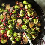 Pan Roasted Brussels Sprouts with Pomegranate Seeds