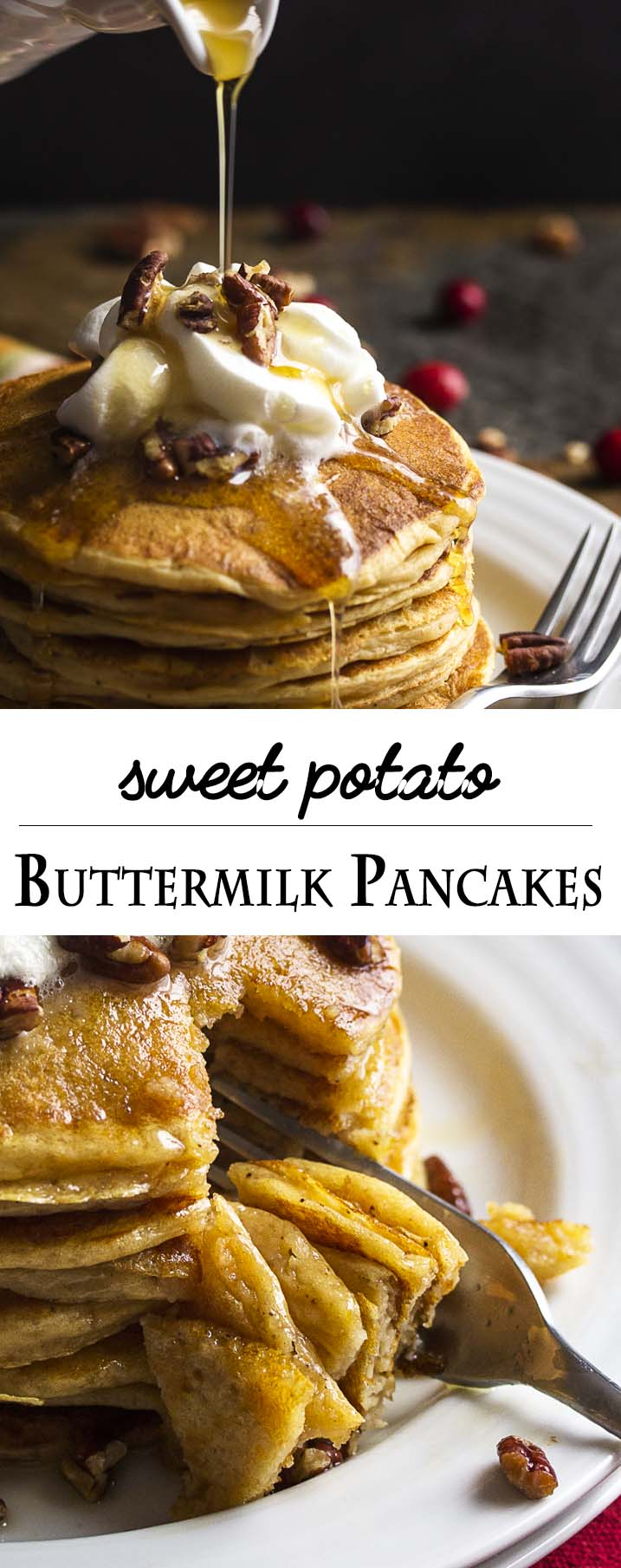 Light, fluffy and full of mashed sweet potatoes, these sweet potato buttermilk pancakes are a tasty and tangy way to start your day. | justalittlebitofbacon.com