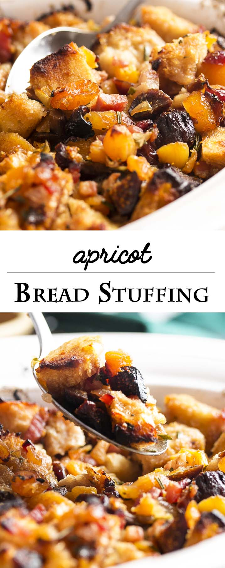 This stuffing is full of apricots, figs, and cranberries all tossed with sourdough bread cubes and flavored with pancetta and rosemary. A great accompaniment to roast pork! | justalittlebitofbacon.com