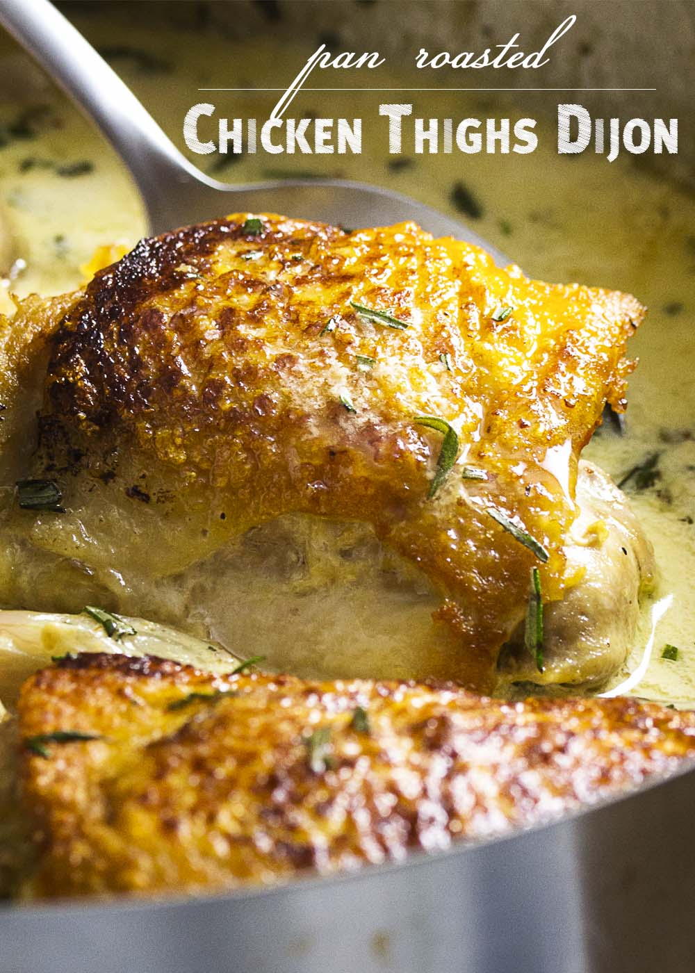 Creamy, on the table in 30 minutes, and with a nice bite from the mustard, one pot chicken thighs dijon is comfort food perfect for a weeknight meal. | justalittlebitofbacon.com