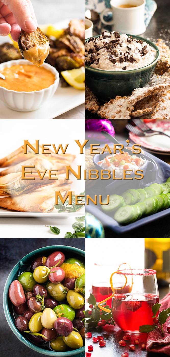 This New Year's Eve appetizer menu is full of all sorts of ideas for a Mediterranean small plates party: savory, sweet and cocktails too.   justalittlebitofbacon.com