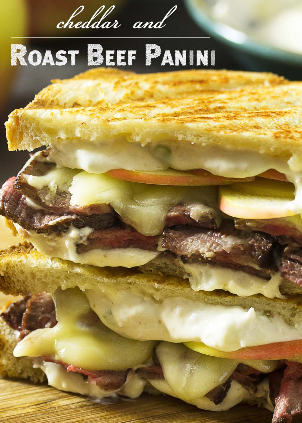 What to do with leftover roast beef? Layer it up on sourdough bread with apples, cheddar, and horseradish sauce for a roast beef panini! Great for lunch or dinner.   justalittlebitofbacon.com