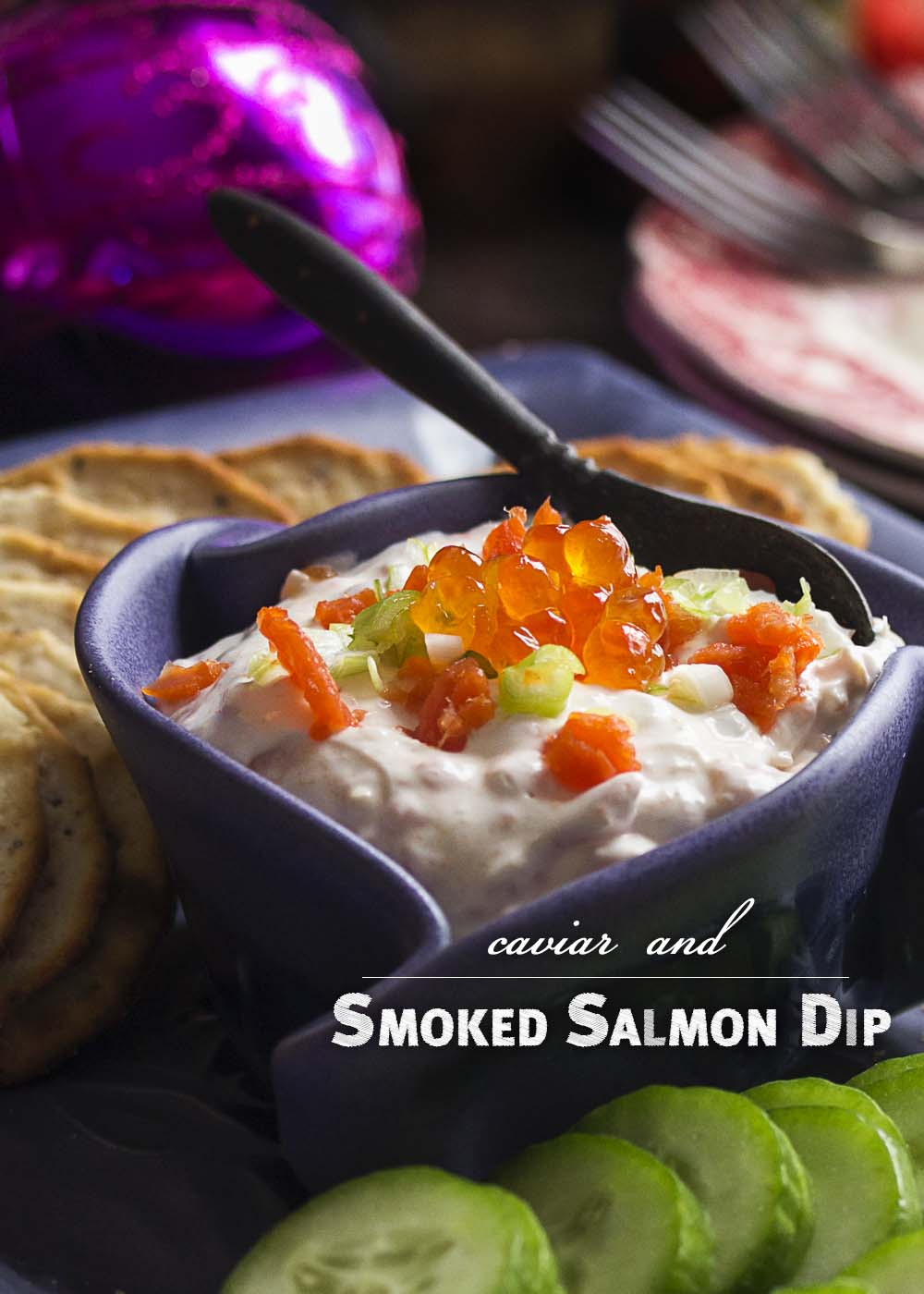 Smoked salmon cream cheese dip is a great and easy holiday party appetizer and it's even better with salmon caviar added to the mix! | justalittlebitofbacon.com