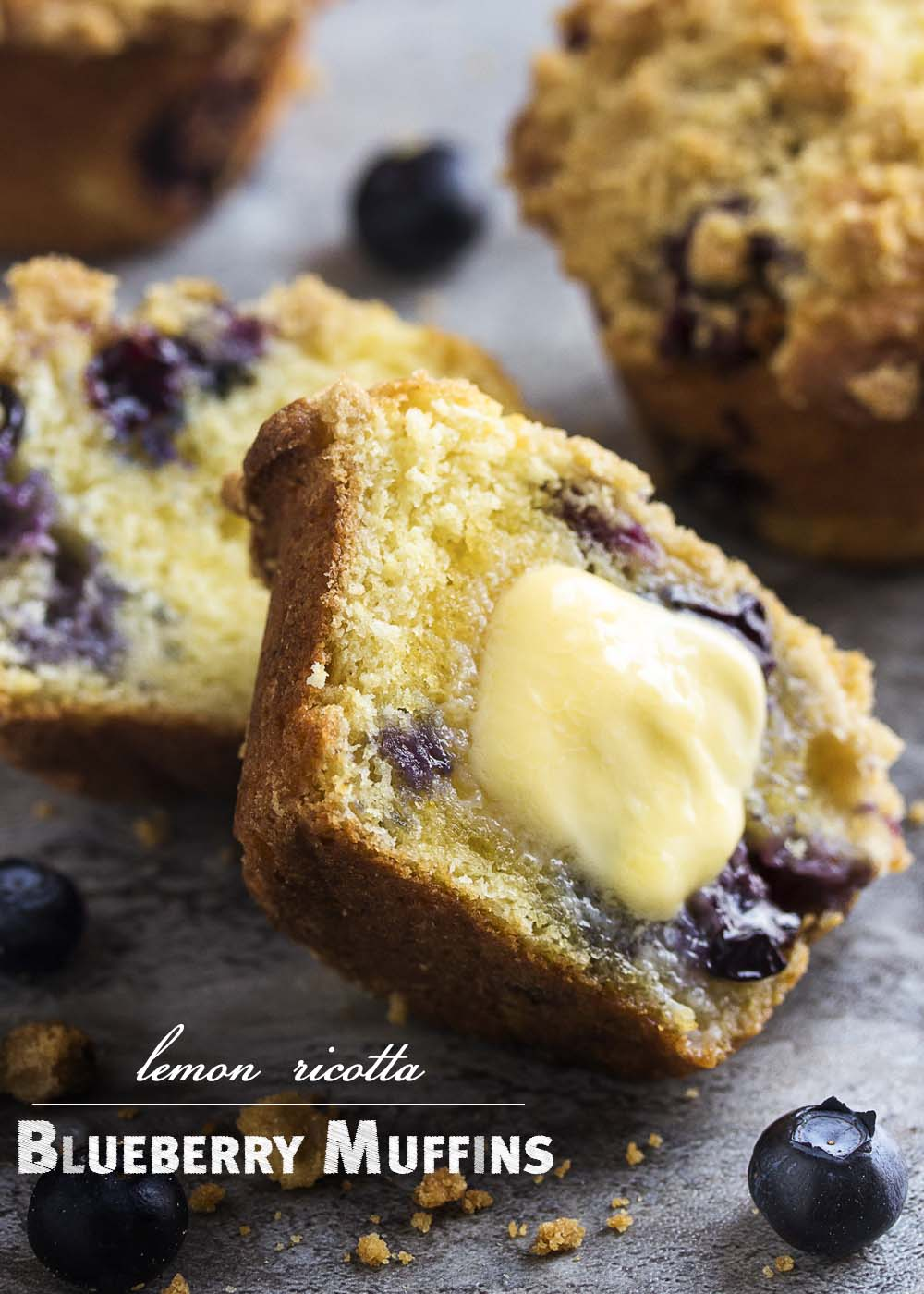 Meyer lemons provide a great, complex, floral flavor to this easy recipe for crumb topped blueberry ricotta muffins. Great for breakfast or any time of the day! | justalittlebitofbacon.com