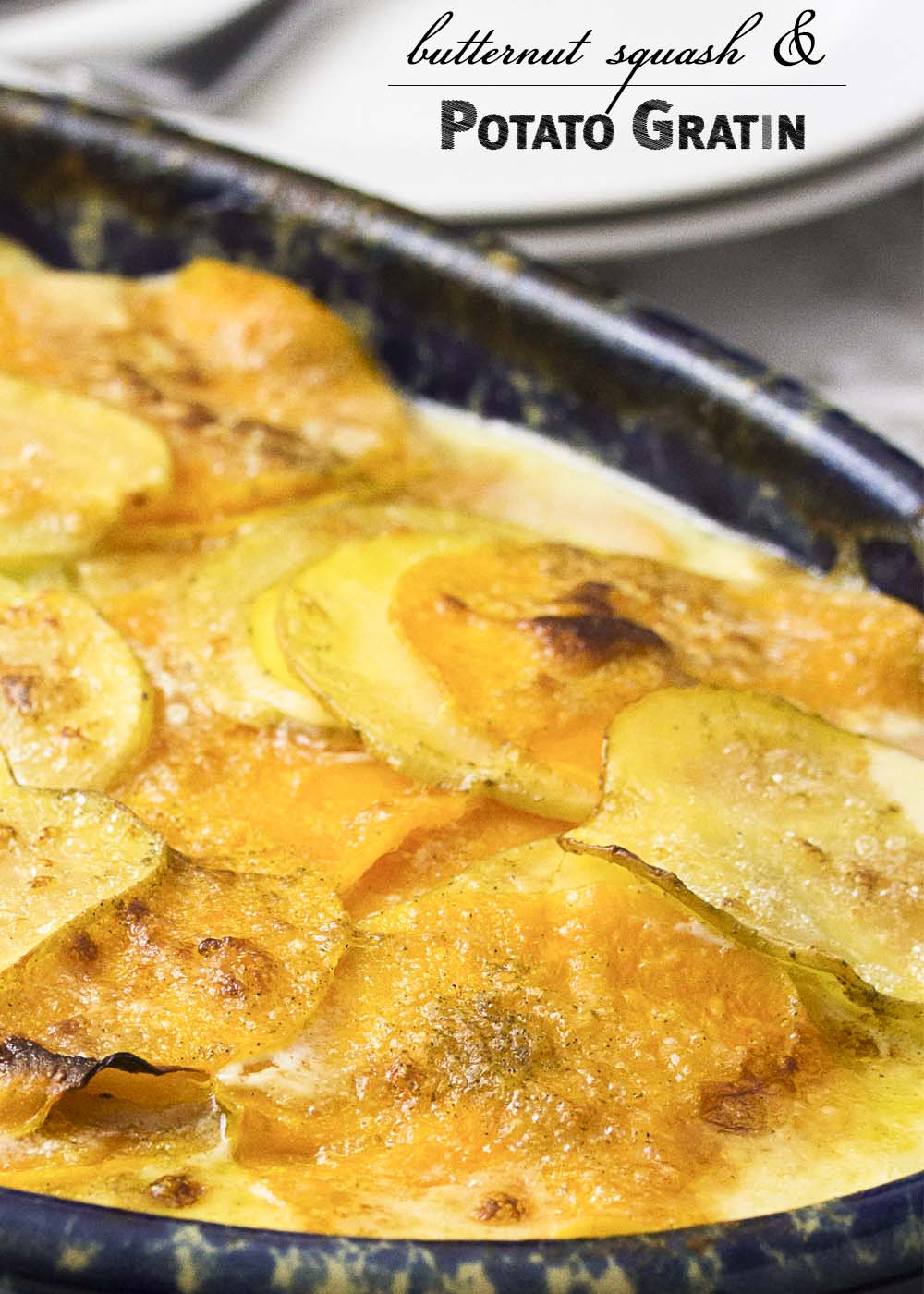 Thinly sliced winter squash and yellow potatoes are layered with brie, then baked until meltingly tender in this winter comfort food recipe for butternut squash potato gratin.   justalittlebitofbacon.com