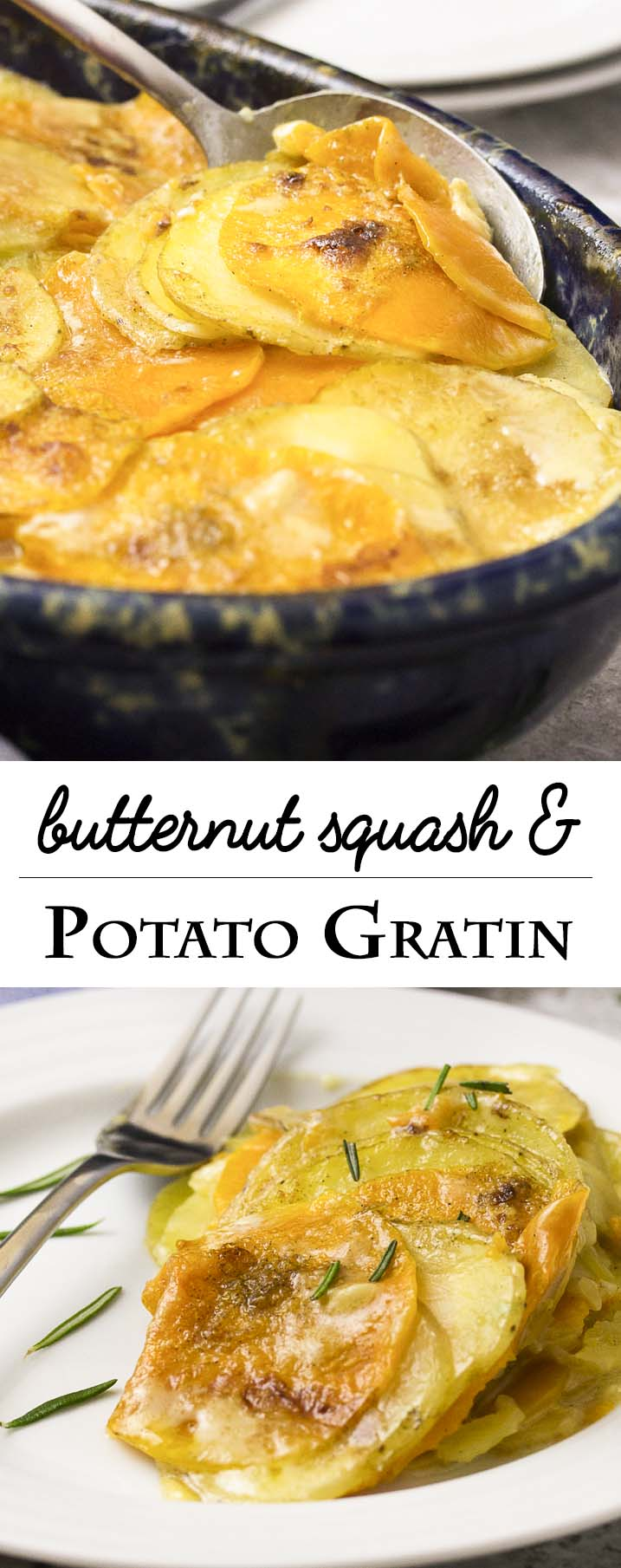 Thinly sliced winter squash and yellow potatoes are layered with brie, then baked until meltingly tender in this winter comfort food recipe for butternut squash potato gratin. | justalittlebitofbacon.com