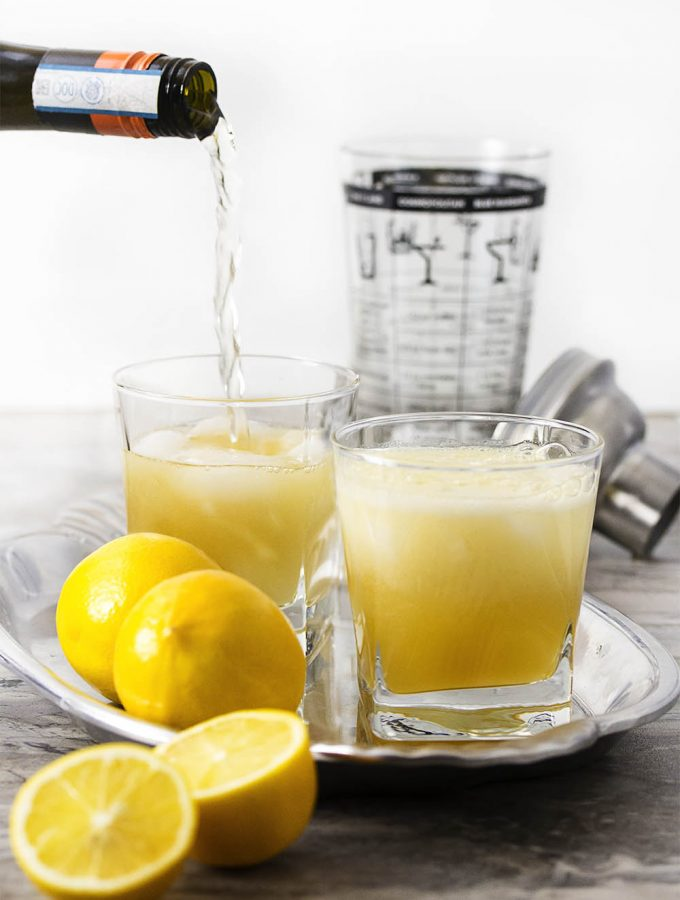 Meyer Lemon and Cognac French 75 Cocktail