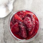 Ruby red and cinnamon spiced, this blood orange compote is a beautiful and intensely flavored sauce perfect for spooning over creamy mascarpone mousse.