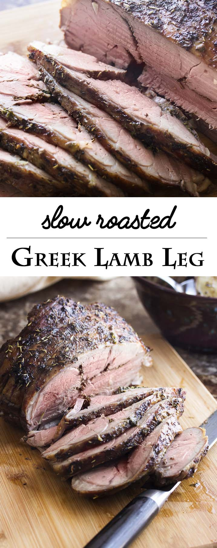 Keep the oven temperature low for a low-stress slow roasted Greek lamb leg which is tender and juicy and pink all the way through! Add some potatoes to the pan for a great, Greek-style meal. | justalittlebitofbacon.com