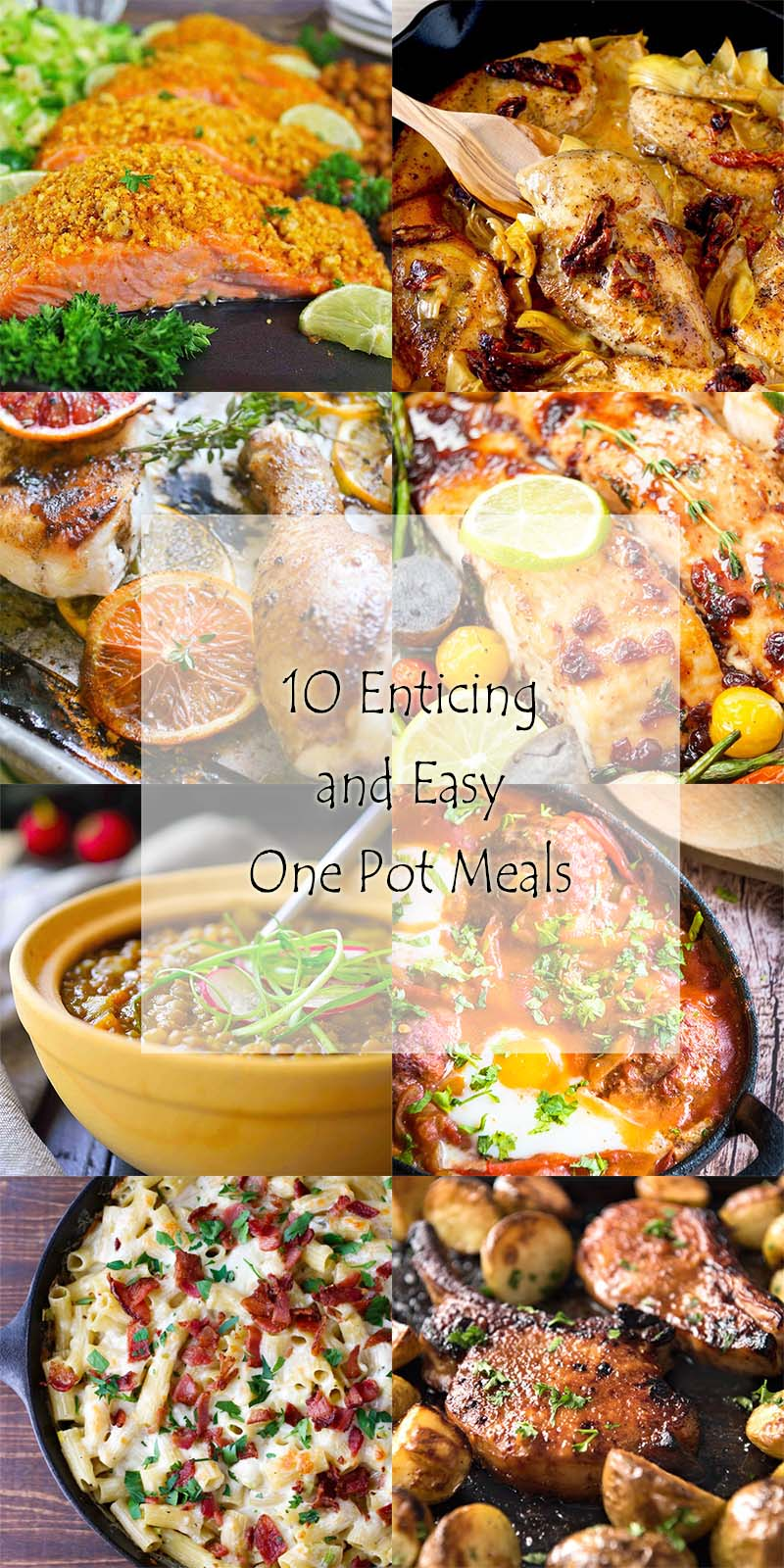 Looking for a quick dinner? Here is a roundup of 10 tasty and easy one pot meals, including soup, skillet sautes and sheet pan dinners.   justalittlebitofbacon.com