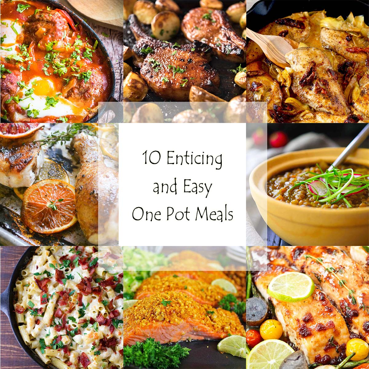 Looking for a quick dinner? Here is a roundup of 10 tasty and easy one pot meals, including soup, skillet sautes and sheet pan dinners. | justalittlebitofbacon.com