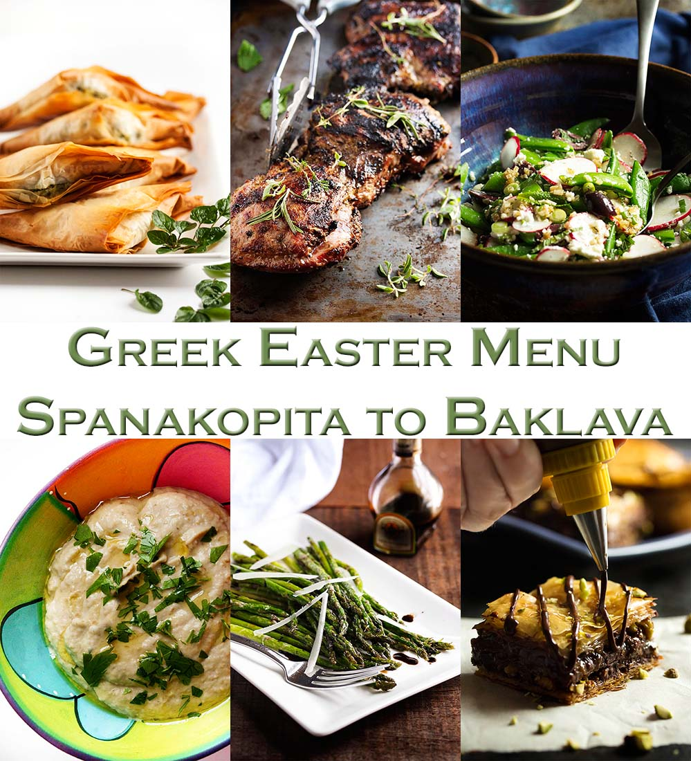 This crowd pleasing Greek Easter menu has everything from spanakopita to baklava, along with great side dishes, salads, and grilled lamb in between! There's even a couple of leftover ideas. | justalittlebitofbacon.com