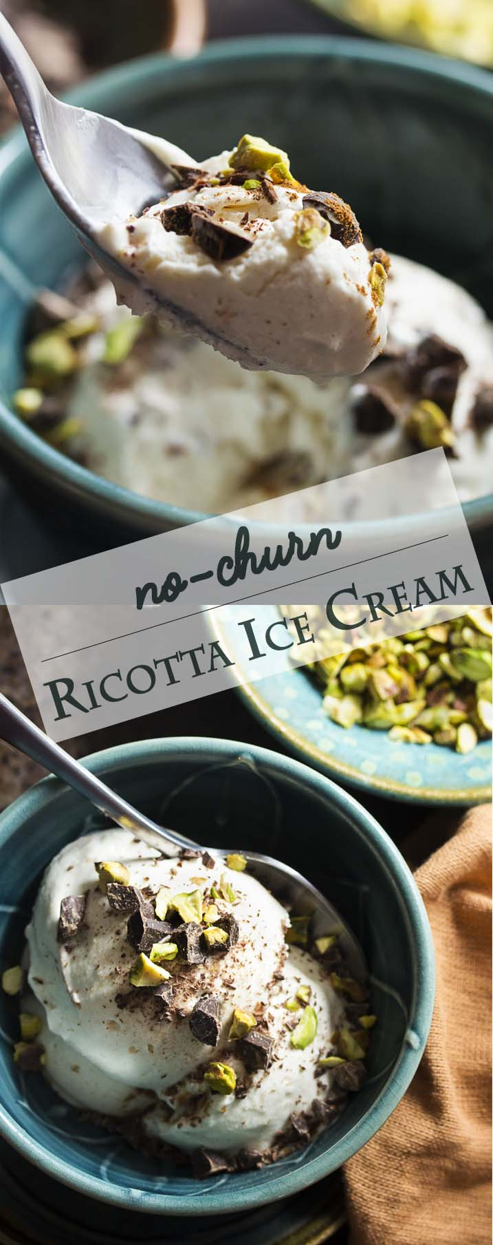 No ice cream machine? Try no churn ricotta ice cream! It's spiced with cinnamon and topped with toasted pistachios and chopped chocolate. Cannoli filling in frozen form which you can make in minutes. | justalittlebitofbacon.com