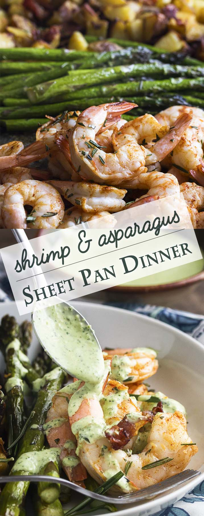 Healthy and easy! This roasted shrimp, asparagus, and potato sheet pan dinner will have food on the table in no time, but without a pile of pots to wash. | justalittlebitofbacon.com