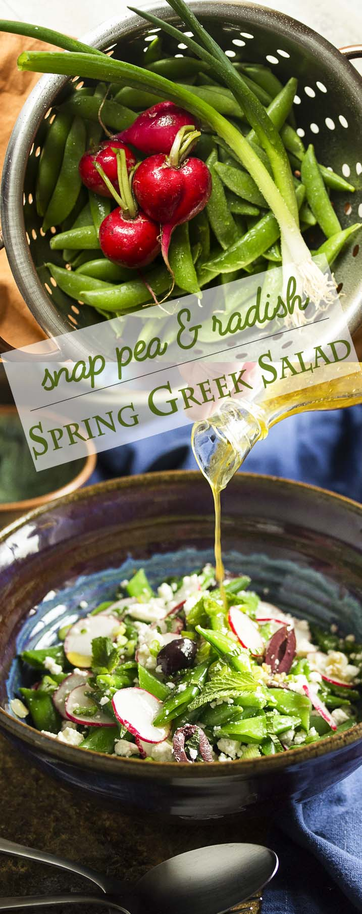 Celebrate spring with sweet snap peas and spicy radishes all tossed with feta, kalamata olives, and scallions in this Greek snap pea salad. | justalittlebitofbacon.com