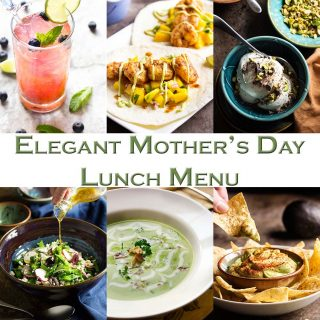 This Mother's Day Lunch Menu is full of ideas for a light and elegant meal! Everything you need from a fruity cocktail to an easy dessert.   justalittlebitofbacon.com