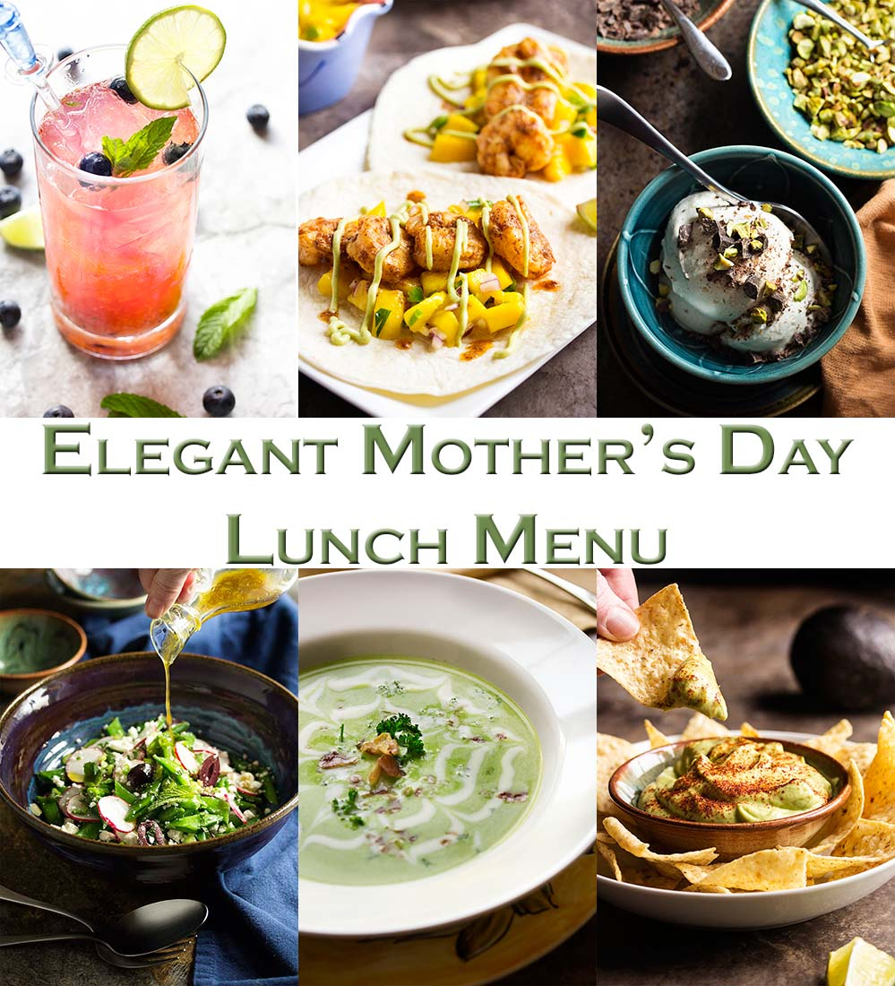 This Mother's Day Lunch Menu is full of ideas for a light and elegant meal! Everything you need from a fruity cocktail to an easy dessert. | justalittlebitofbacon.com