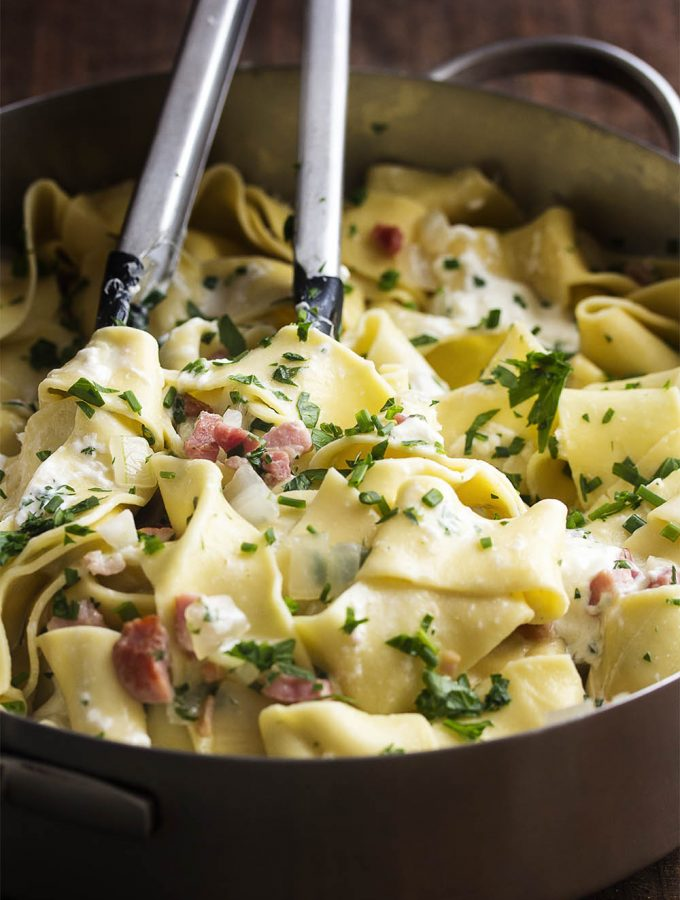 Pappardelle Pasta with Pancetta and Burrata