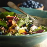 Peach and Blueberry Spinach Salad