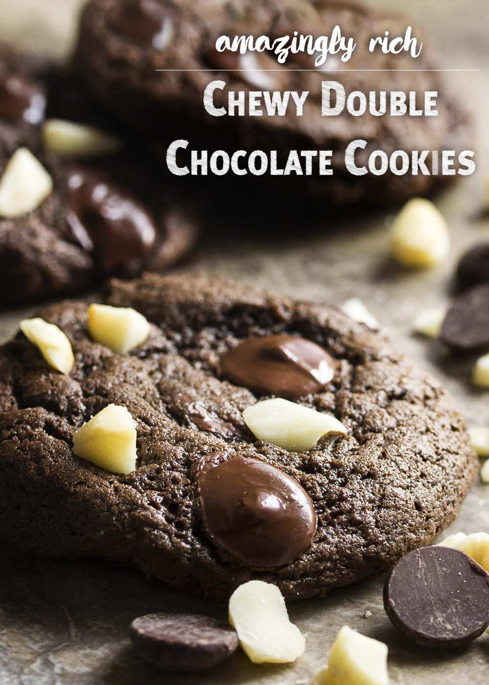These deep, dark double chocolate chip cookies and so soft, chewy, and rich! I love the easy one bowl method and crowd-pleasing results. | justalittlebitofbacon.com