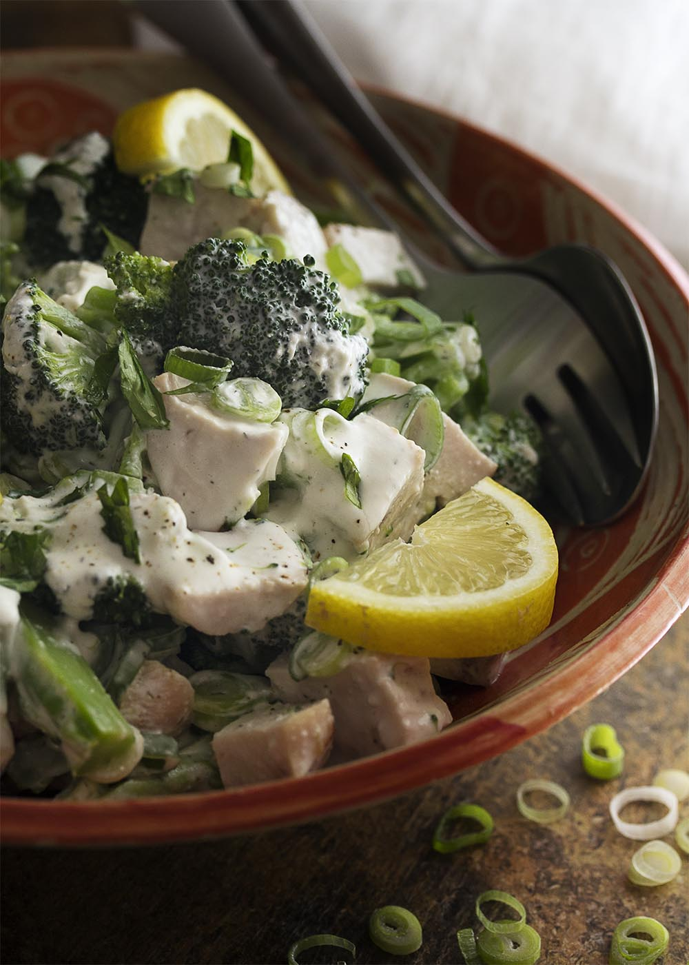 Juicy diced chicken and tender broccoli are tossed with a creamy, cottage cheese dressing in this simple but substantial summer salad. Healthy, low carb, and easy! | justalittlebitofbacon.com