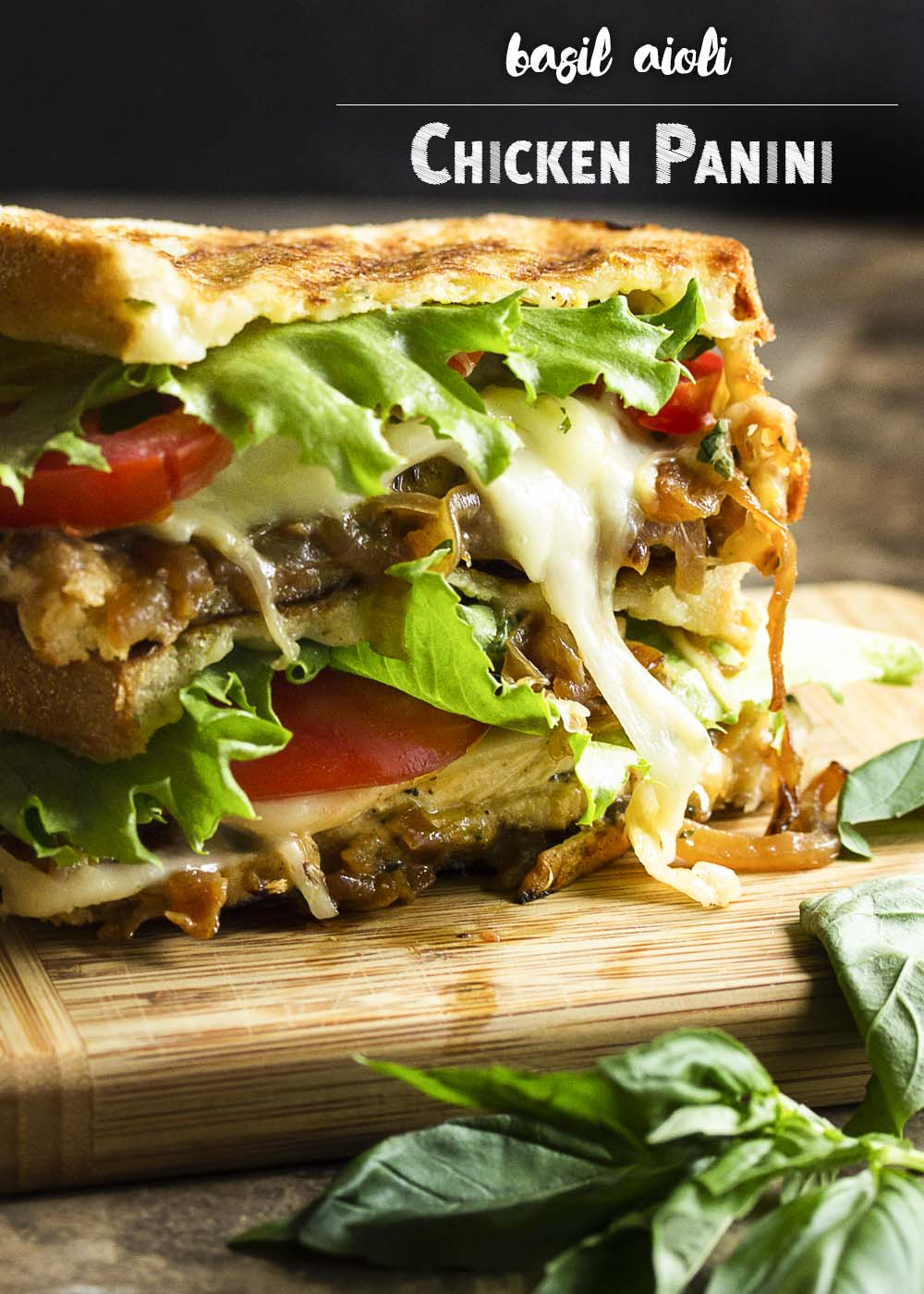 Creamy fontina cheese and sweet caramelized onions are paired with sliced chicken and a basil aioli in this chicken pesto panini. | justalittlebitofbacon.com