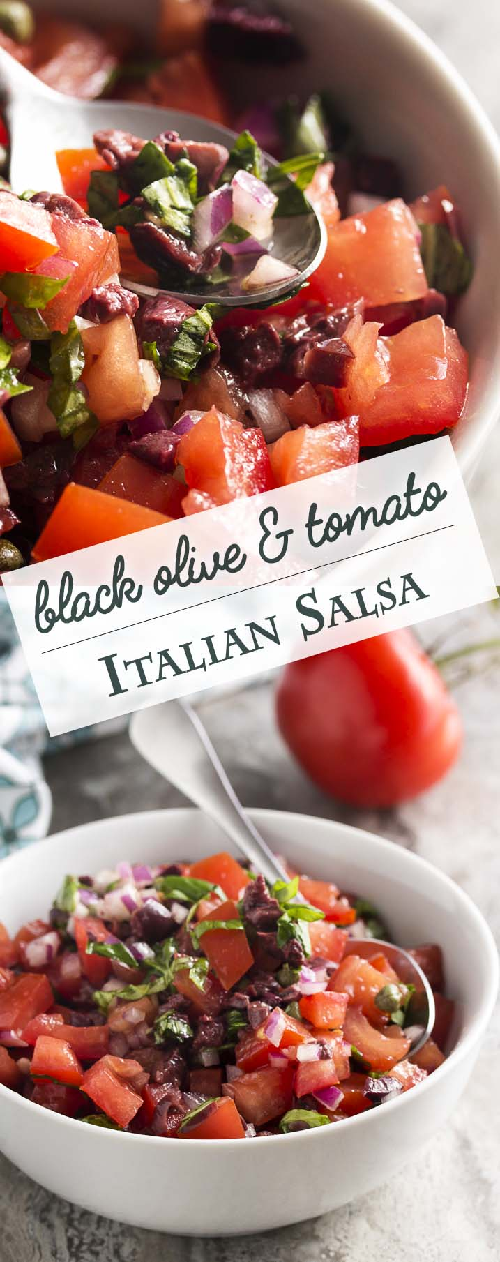 This Italian salsa is full of Italian flavors like fresh tomatoes, capers, black olives, and basil! It's great on grilled meats, bruschetta, or as a dip with chips. | justalittlebitofbacon.com