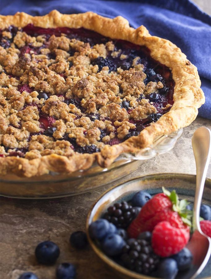 Midsummer Mixed Berry Pie with Crumb Topping