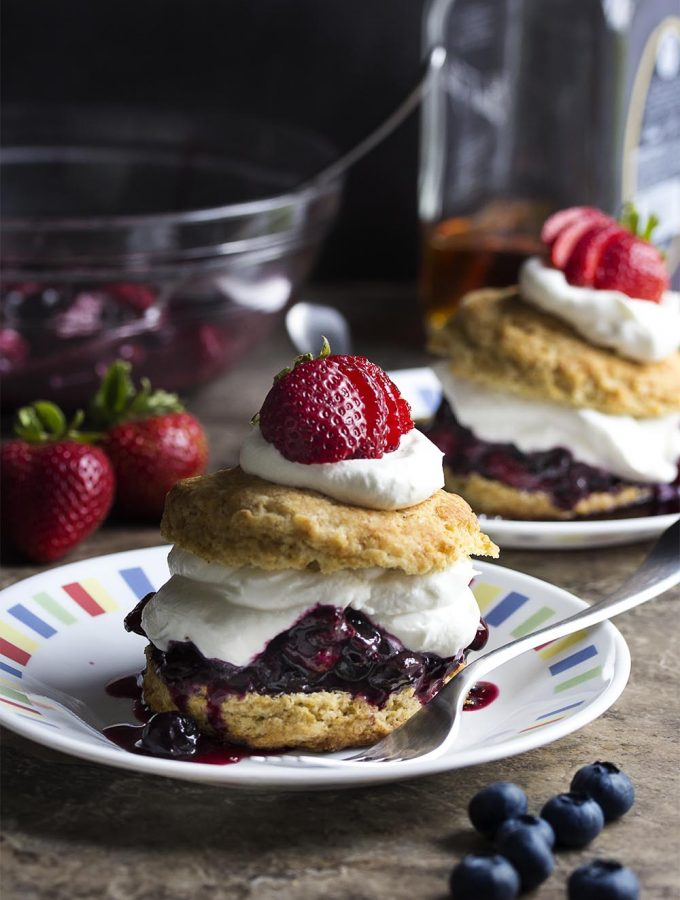 Roasted Berry Shortcake With Bourbon Whipped Cream