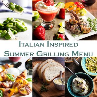 This Italian inspired summer grilling menu features a knockout grilled lamb and figs recipe and is full of easy party ideas perfect for hot summer days. | justalittlebitofbacon.com