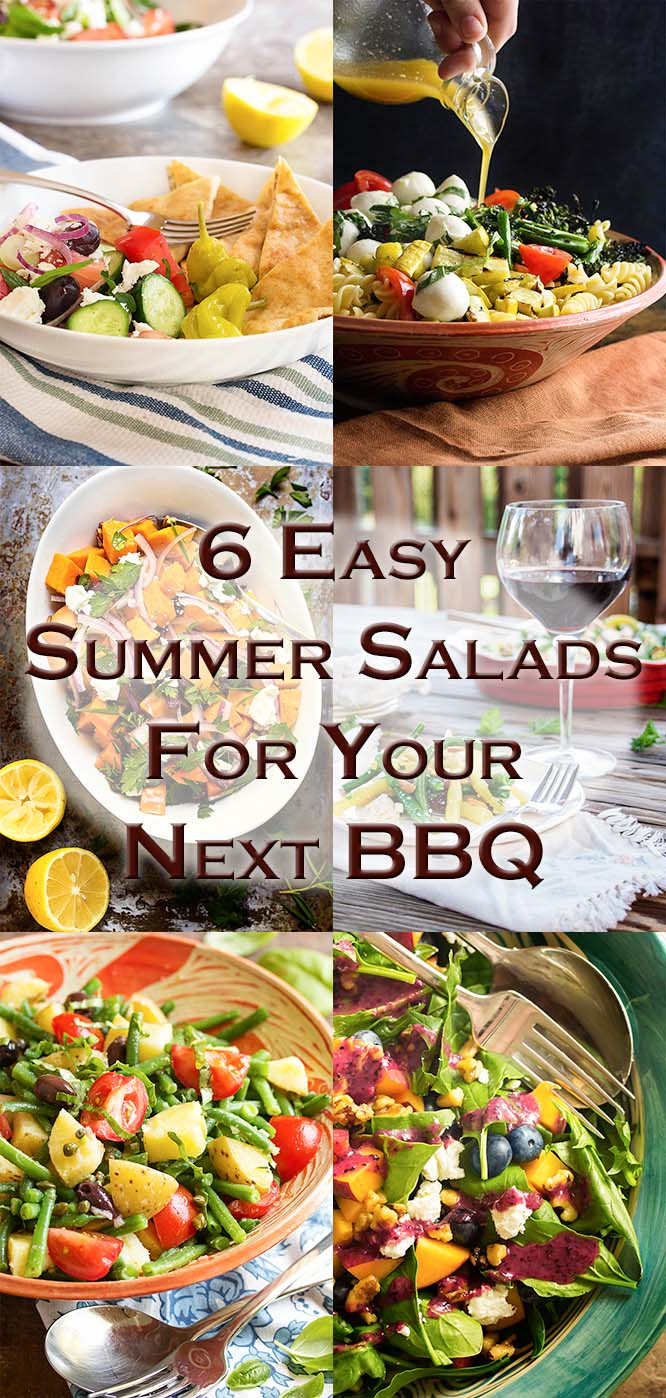 Looking for some easy summer salads which go beyond the basics? Check out this roundup of six great salads for BBQs and cookouts! Grilled pasta salad, French potato salad, blueberry spinach salad, and more.   justalittlebitofbacon.com